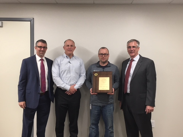 Left to Right: Evapco's Chad Nagle, Chuck Edwards, Vice President, Aftermarket Sales, Chesapeake Systems, Kevin Hetman, Manager of GoodTower Services, and Jamie Facius at Evapco
