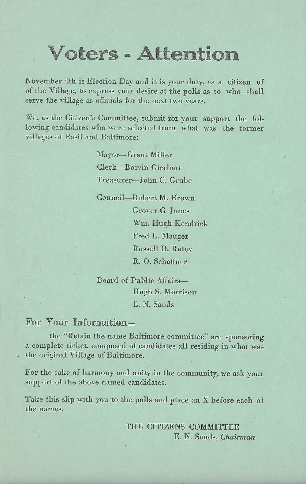 """Election Day reminder from The Citizens Committee of Baltimore encouraging residents to vote for the candidates sponsored by the Retain the Name """"Baltimore"""" Committee"""