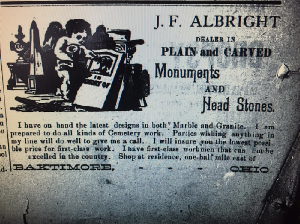 corresponding ad photos including a 1894 typo of misspelling of BAKTIMORE