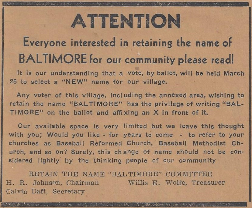 "On March 20, 1947, the Retain the Name ""Baltimore"" Committee ran this advertisement in the Twin City News."