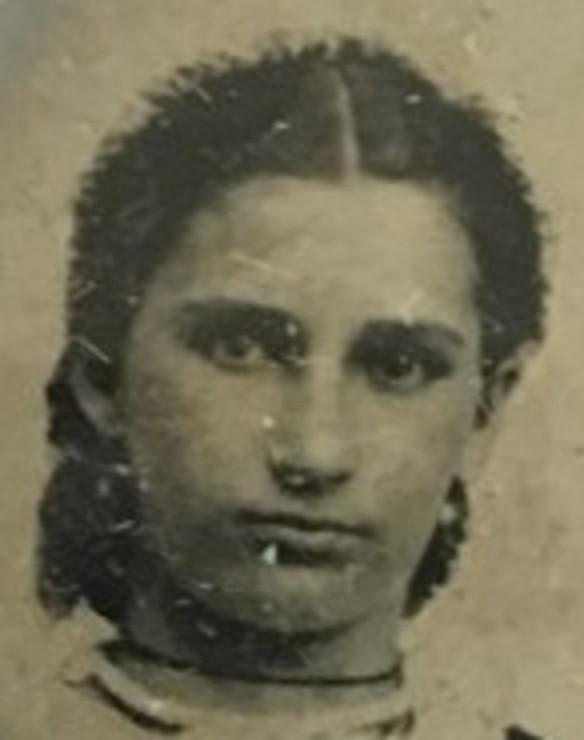 Close-up photo of Catherine Hensel Thomen, ca. 1870 (est. age 24)