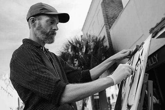 Tim drawing on King Street, Charleston, SC.