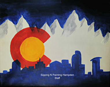 Colorado Flag with Skyline