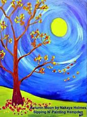 Autumn Moon on Canvas