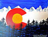 Colorado Flag with Trees, no frame, smal