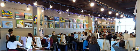 Interior of Sipping N' Painting Hampden in Denver