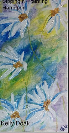 Acrylic painting on canvas, Sipping N Painting Hampden Denver, art classes, parties, wine bar, cocktails, drinking, date night, SE Denver