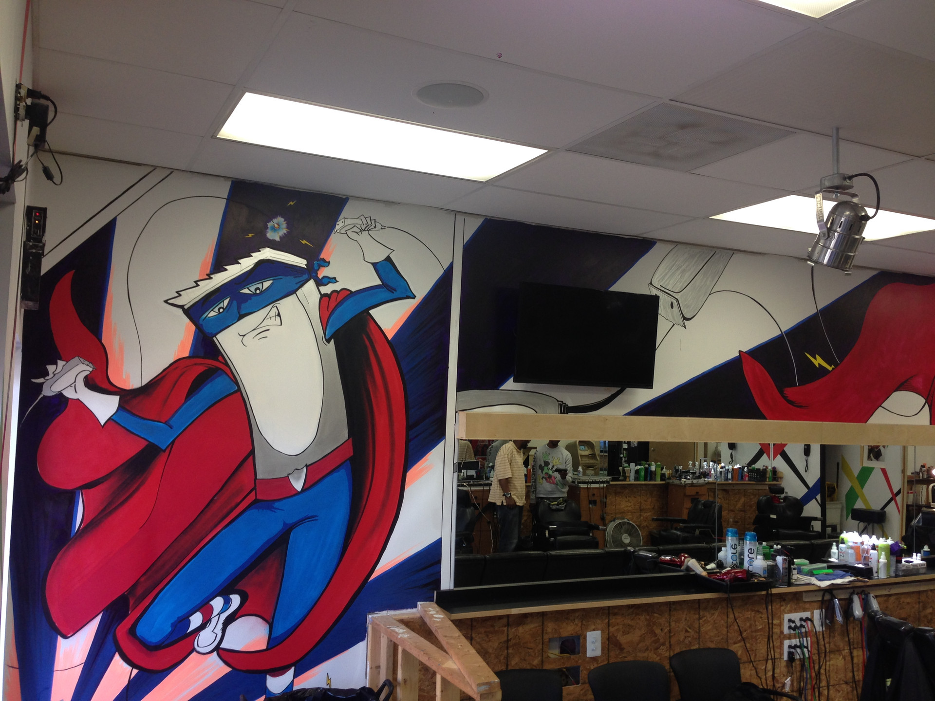 Clipper Man Mural Classic Cuts Barber Shop