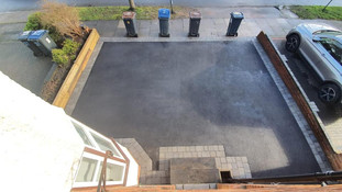 Driveway with parking posts installed in barnt green