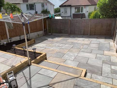 Limestone slab patio in romsley