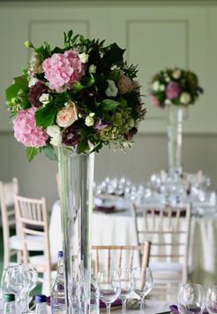 Dundas Castle - elegant tall wedding table centres