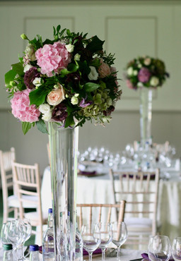 Dundas Castle - elegant tall wedding table centres