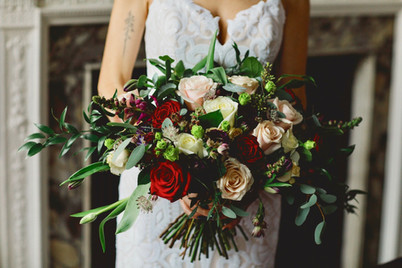 Blush and marsala bridal bouquet
