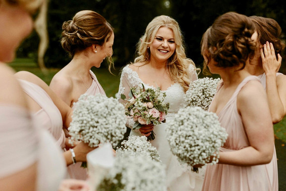 Gypsophila bridesmaids bouquets