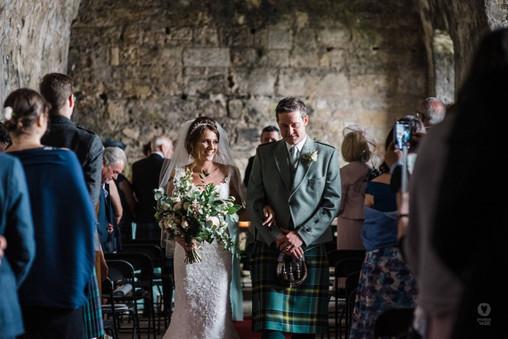 Lush green bridal bouquet for Inchcole Island wedding