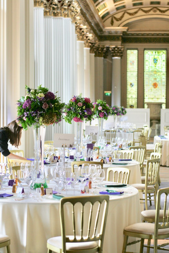 The Signet Library - tall wedding table centres