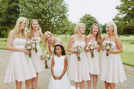 Wedderburn Castle - beautiful bridemaid swith blush bouquetss