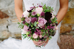 Allium and rose rustic bouquet