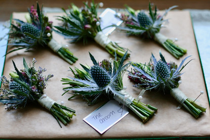 Thistle buttonholes for the Grooms