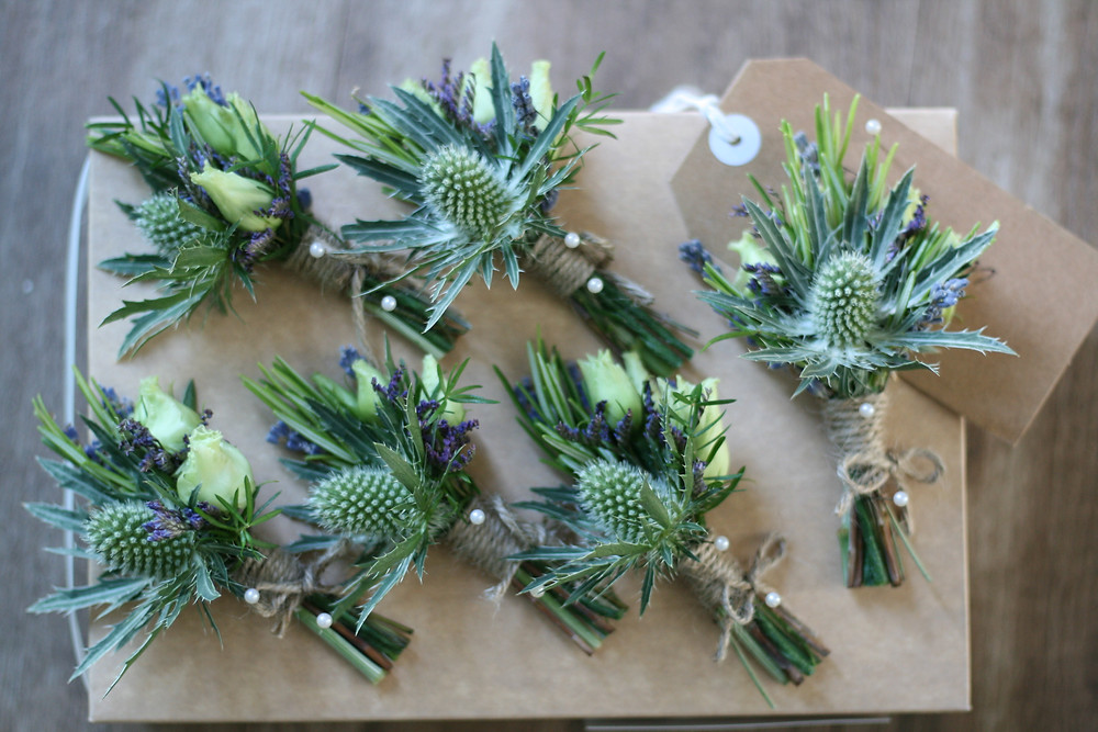 Thistle and herb buttonholes