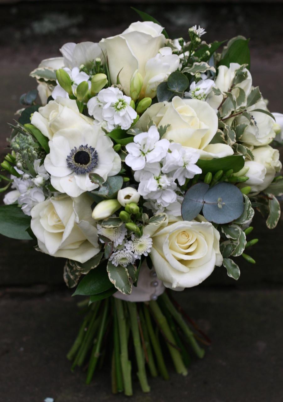 Gorgeous scented bridal bouquet - norma jean roses, freesias, stock, eucalyptus