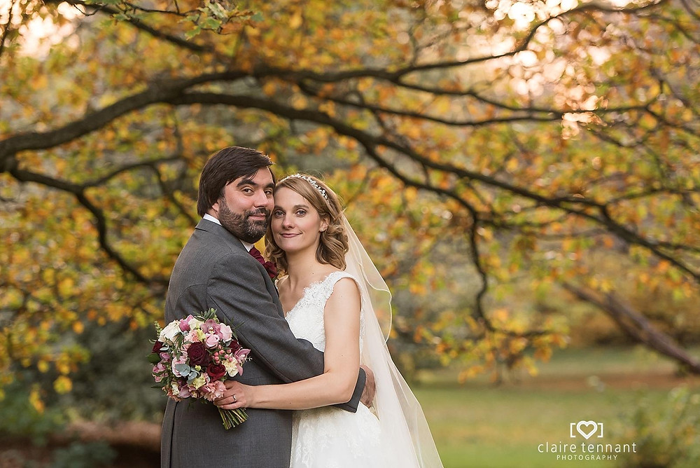Gorgeous autumn colours for Gill and Ross who were married at The Principal George Street, Edinburgh. Gill chose rich blush and marsala flowers for her bouquet of black bacar roses, orchids, sweet avalanche roses and double headed eustoma.