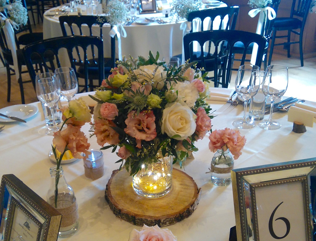 Rose centrepieces for Edinburgh Castle Wedding
