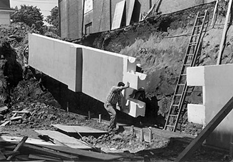 Early ICF panels made from EPS and with