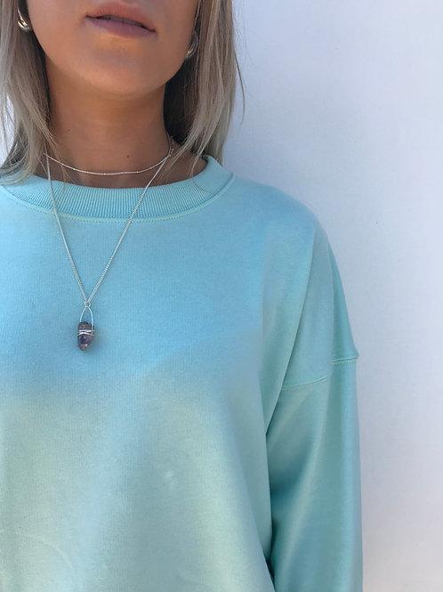 Amethyst silver necklace - Geminite