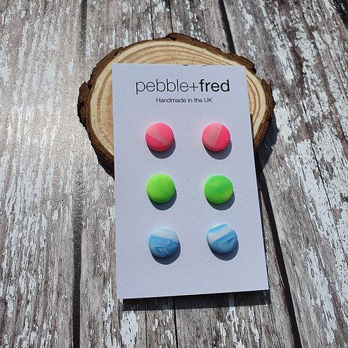 Neon stud multipack - Pebble & Fred