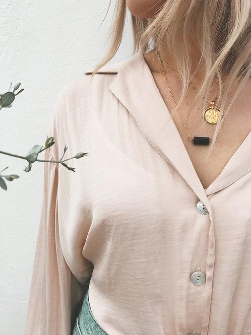 Black Tourmaline silver necklace - Geminite