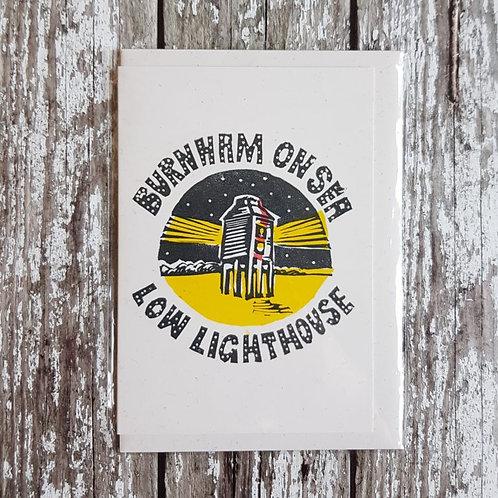Hand-printed Burnham on Sea card