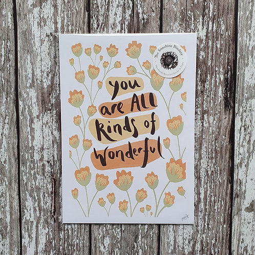 'You Are All Kinds of Wonderful' print - The Sunshine Bindery