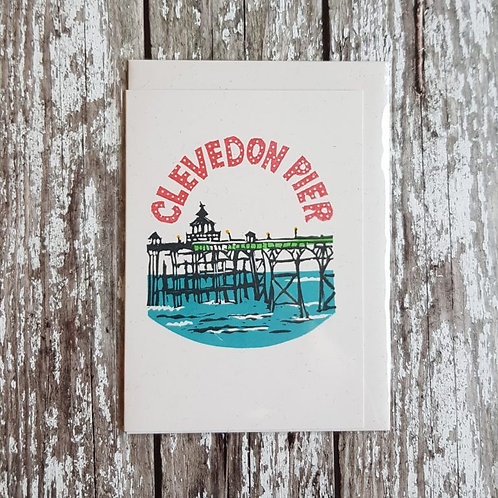 Hand-printed Clevedon Pier card