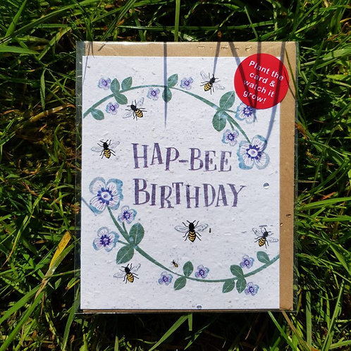Hap-Bee Birthday wildflower seed card