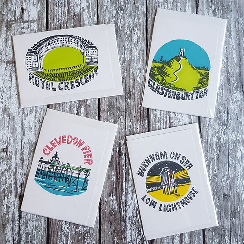 Hand-printed Somerset cards