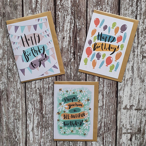 'Happy Birthday' cards - The Sunshine Bindery
