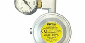 Regolatore gas con valvola sicur. e manometro 1,5kg/h 30mbar