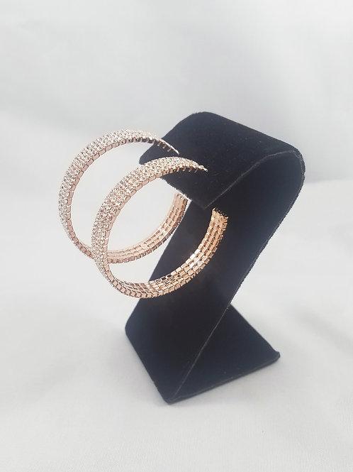 Large 3 Line Hoop Earrings Rosegold
