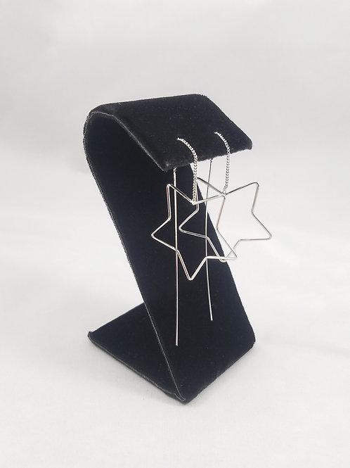 Big Star Thread Earrings Rhodium
