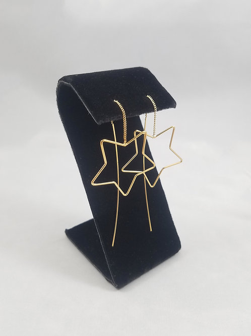 Big Star Thread Earrings Gold