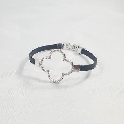 Clover Leather Bracelet Rhodium