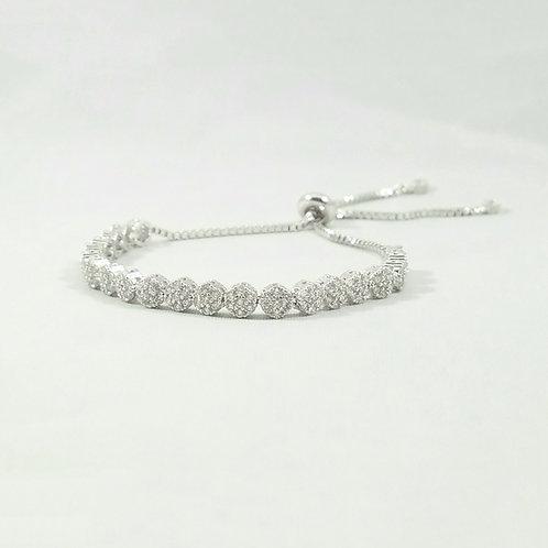 Bouquet Adjustable Bracelet Rhodium