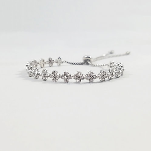 Clover Adjustable Bracelet Rhodium