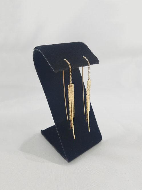 Angel Hair Thread Earrings Gold