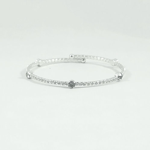 Dot Bangle Rhodium