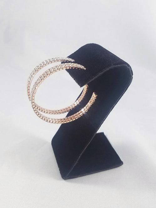 Large 2 Line Hoop Earrings Rosegold