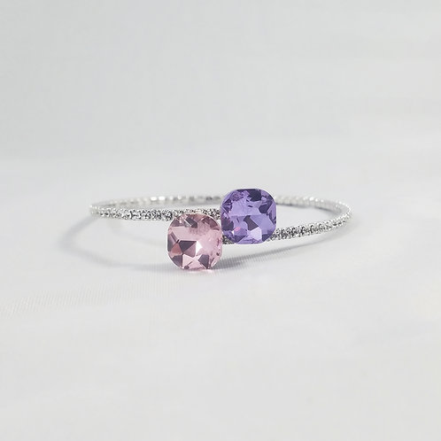 Twin Crystal 1 Line Bangle Purple & Pink