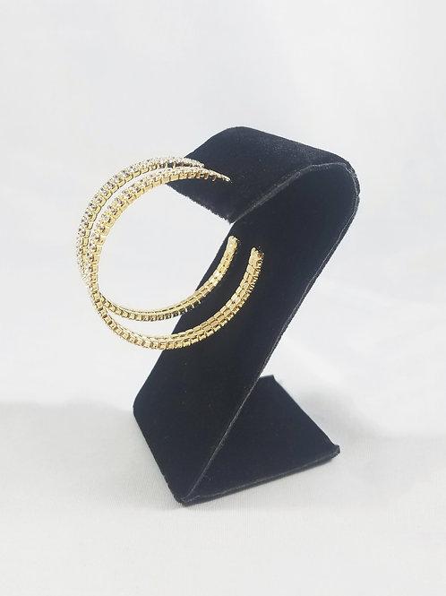 Large 2 Line Hoop Earrings Gold