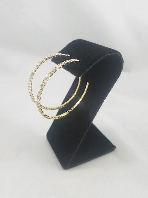 Medium 1 Line Hoop Earrings Gold